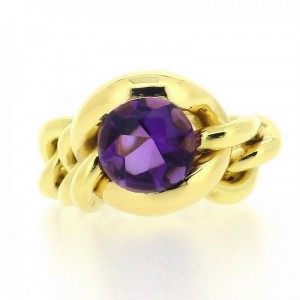 Chanel 18K Yellow Gold Amethyst Necklace Size 146mm