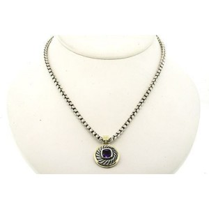 David Yurman Sterling Silver Amethyst Cable Pendant