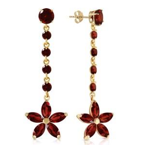 4.8 CTW 14K Solid Gold Stardrop Garnet Earrings