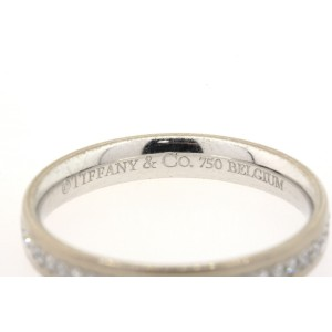 Tiffany & Co. Belgium Metro 18k White Gold Diamond Full Eternity Band Ring 5.5