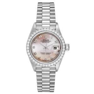 Rolex President Platinum MOP Dial Diamond Ladies Watch 69136