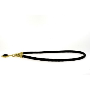 "Judith Ripka 18k Diamond Onyx Pendant Enhancer Necklace Black Cord 16"" Choker"