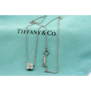 Tiffany & Co. Diamond Lace 4 Stone Pendant Necklace Flower Bezel