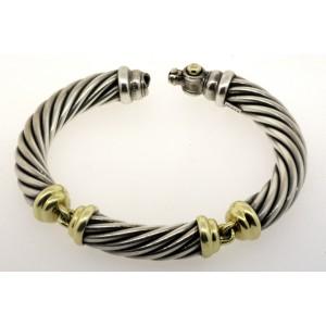 968fb5d0493786 David Yurman Bracelet 10mm Cable 3 Part 14k Gold Station Bangle   David  Yurman   Buy at TrueFacet