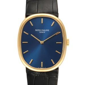 Patek Philippe Golden Ellipse 18k Yellow Gold Blue Dial Mens Watch 7579