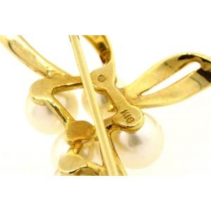 Mikimoto Pin Brooch 18k yellow gold 5 Pearl & Original Box Tag Card