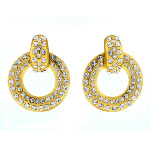 Chanel Gold Tone Crystal Drop Earrings