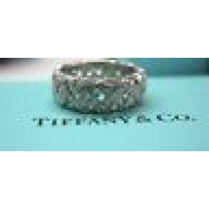 Tiffany & Co Platinum Vannerie NATURAL Diamond Band Ring 2.80CT Size 6.5