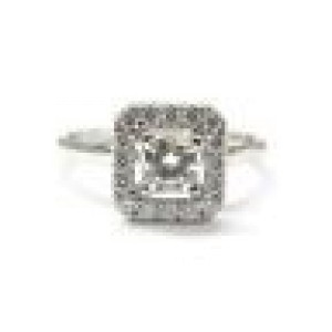 Hearts On Fire Princess Cut NATURAL Diamond Engagement Ring .77CT G-H VS2