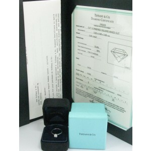 Tiffany & Co Platinum Lucida Diamond Solitaire Engagement Ring E-VVS2 .66CT