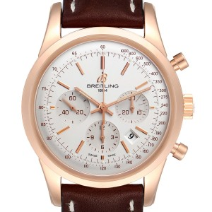 Breitling Transocean 43mm 18k Rose Gold Mens Watch RB0152