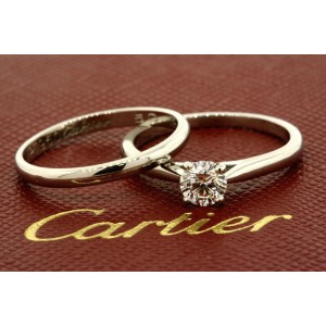 Cartier .33ct GIA F VS1 Diamond Solitaire Engagement Ring Wedding Band Box Certs