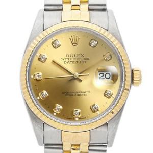 Rolex Datejust 16013 Unisex Champagne DIamond Yellow Gold 36mm 1 Year Warranty