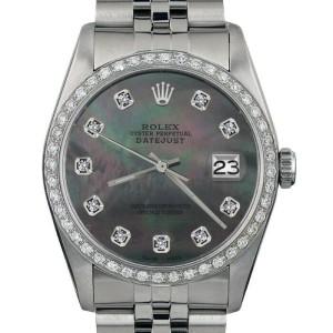 Rolex Datejust 16014 Unisex Black MOP Diamond White Gold 36mm 1 Year Warranty