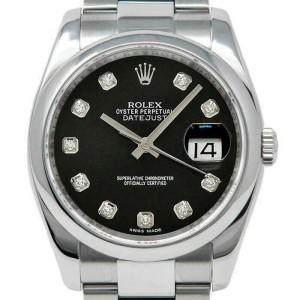 Rolex Datejust 36mm 116200 Unisex Black Diamond Steel 36mm 1 Year Warranty