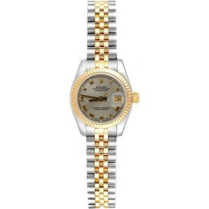 Rolex Datejust Womens Steel and Gold Jubilee 179173 Silver Roman Dial 18k Bezel