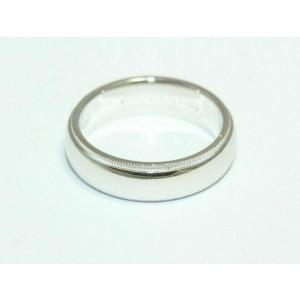 Tiffany & Co Platinum Mens 6 MM Double Milgrain Wedding Band Size 9.5 $2525 NEW