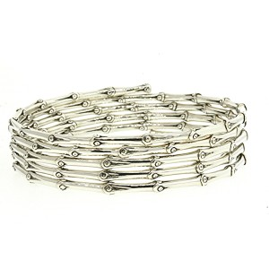 John Hardy 5 Row Wrap Bamboo Bangle Bracelet Sterling Silver Planted 10 Bamboos