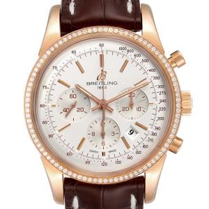 Breitling Transocean 43mm Rose Gold Diamond Mens Watch RB0152