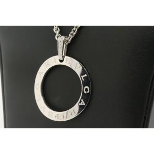 "Bulgari Bvlgari Diamond Open Circle Pendant Necklace Chain 22"" 18k White Gold"