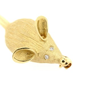 "Larter & Sons Mouse Pin Brooch Diamond Eyes 14k Yellow Gold 2"" Long 3d rat"