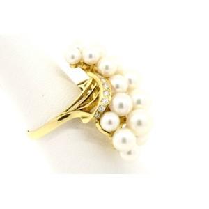 Mikimoto 18k Gold Wave 20 Akoya Pearl Cluster Ring Diamond size 7.5 Vintage