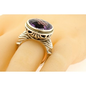 Effy BH Large Round Amethyst Ring 18k Yellow Gold Sterling Silver size 7.25