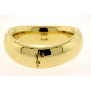 Pomellato Curved 18k Band Ring Wedding Yellow Gold size 6.25 6mm Wide 13g