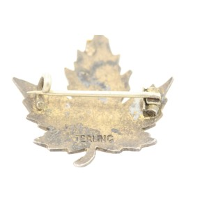 Vintage Sterling Silver Charm Canada Maple Leaf Enamel Color Pin Brooch Red