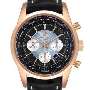 Breitling Transocean Chronograph Unitime Rose Gold Watch RB0510