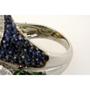 Levian Multi Color Citrine Peridot Topaz Sapphire Tsavorite Diamond Ring 14k 7