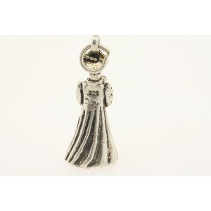Vintage Sterling Silver Charm Graduate Girl Woman Lady in Graduation Gown Cap 3D