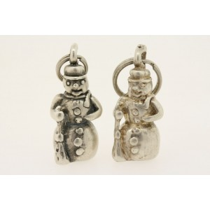 Vintage Sterling Silver Charm 3D Snowman Heavy Solid Winter Frosty
