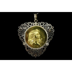 Art Nouveau Diamond Pendant Necklace Water Nymph Lady Head 14k Gold & Platinum