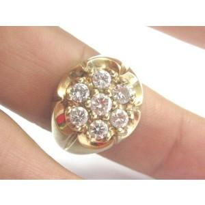 Fine Mens Round Diamond Cluster Yellow Gold Jewelry 7-Stone Ring 1.50CT