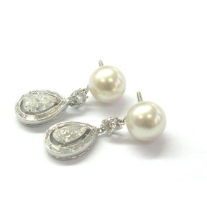 Platinum Natural Pearl & Mutli Shape Diamond Drop Earrings PT950 2.92Ct 9.5mm