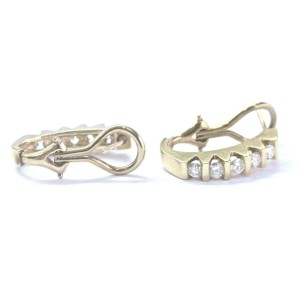 Fine Round Cut Diamond Yellow Gold Bar Setting Huggie Earrings .64Ct 14KT