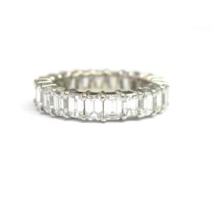 Fine Emerald Cut Diamond Shared Prong Eternity Band Ring WG 5.00CT Sz7.5
