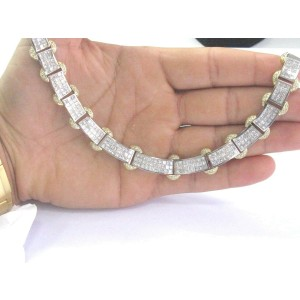 Two-Tone Princess Cut Diamond Necklace Invisible Setting 18KT 20.68Ct 18""