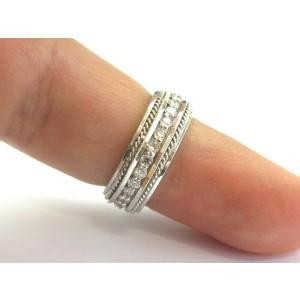 Milgrain Diamond Eternity Band 18KT White Gold 28-Stones 1.00Ct Size 6 7mm