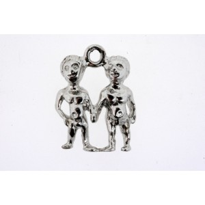 Vintage Sterling Silver Charm Boys Boyfriends Holding Hands Couple Nude