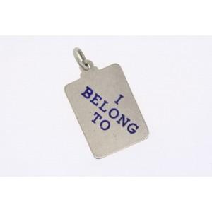 Vintage Sterling Silver Charm I Belong To Rectangle Engravable Disc Blue Letter