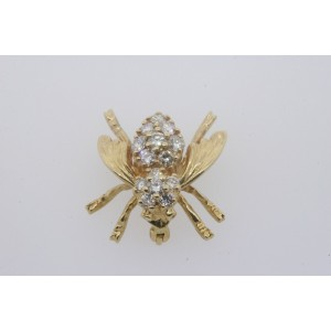 14k Yellow Gold Diamond 3D Bee Bug Pin Brooch RJW Designer .45ct SI GH