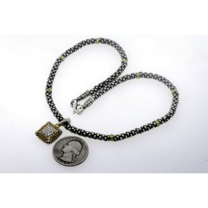 "Lagos Caviar Diamond Pendant Necklace 18k Gold Sterling Silver 15"""
