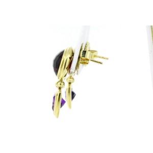 David Yurman Earrings 18k Gold Garnet Amethyst Dangle Drop Renaissance
