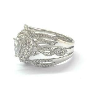 Neil Lane Pear Shape Diamond WIDE Halo Engagement Ring 14Kt White Gold 1.50Ct