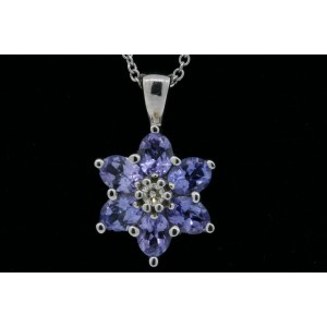 "Effy BH Tanzanite Diamond Pendant Necklace 14k White Gold Flower 16"""