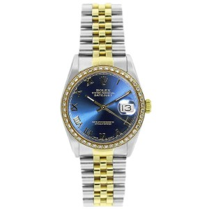 Rolex Datejust 36mm 16233 Unisex Stainless Steel Automatic Blue 1 Year Warranty