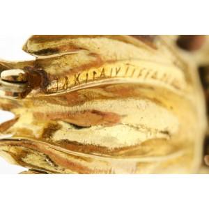 "Tiffany & Co. Brooch Pin Wheat Sheaf Bushel Leaves 18k Gold Italy Vintage 1.75"""