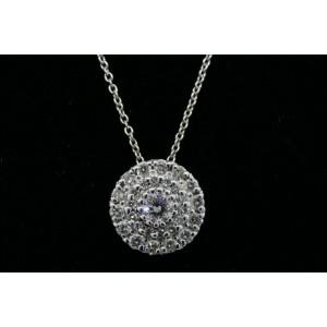 Roberto Coin Classics Diamond Pendant Necklace Circle Pave 18k White Gold 1/2ct